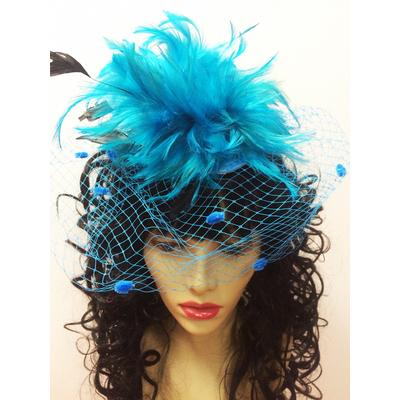 Bibi plumes et voilette turquoise