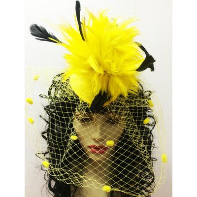 Bibi plumes et voilette jaune