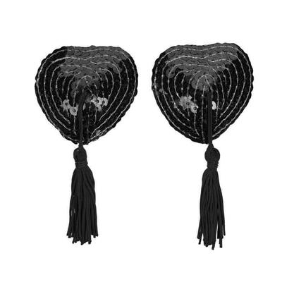Cache téton à paillettes coeur noir