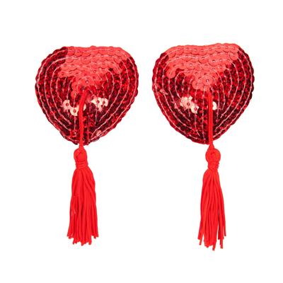 Cache téton à paillettes coeur rouge