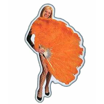 Eventail géant en plumes oranges