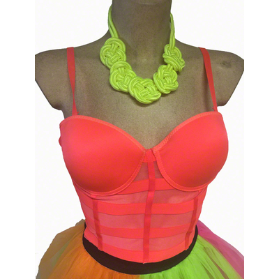 Bustier Bandes corail fluo 80'