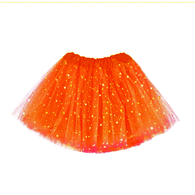 Jupe tutu orange fluo pailleté étoiles