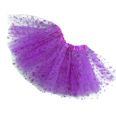 Jupe tutu de danse à pois pailletés violet