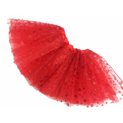 Jupe tutu de danse à pois pailletés rouge