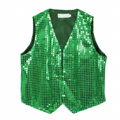 Gilet disco mixte adulte à paillettes vert bresil