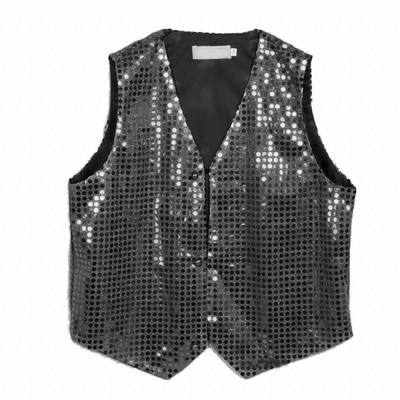 Gilet disco mixte adulte à paillettes noir