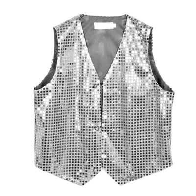 Gilet disco mixte adulte à paillettes argent