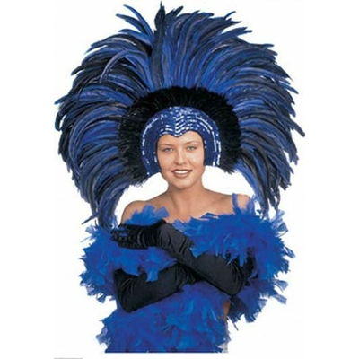 Coiffe Lido Plumes Bleues