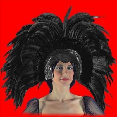 Coiffe Cabaret Plumes Noires