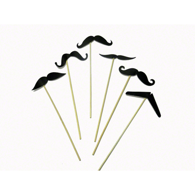 6 Moustaches sur tiges photobooth
