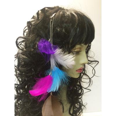 Pince à cheveux plumes multicolores