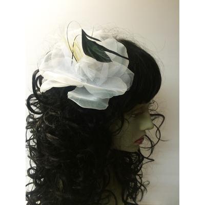 Pince à cheveux fleur organza blanche