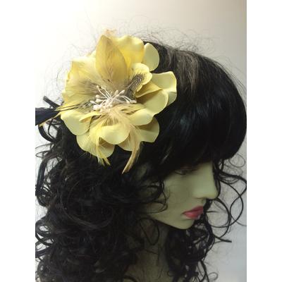 Pince à cheveux fleur beige