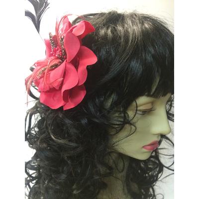 Pince à cheveux fleur rouge