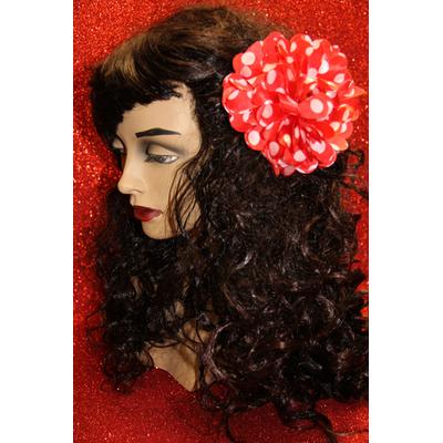 Pince chouchou fleur  Espagnole Rouge et blanche