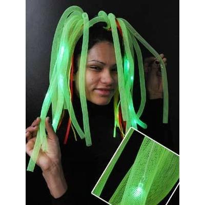 Diadème Cheveux Rasta Fluo Vert Lumineux