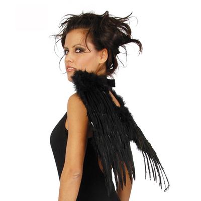 Ailes en plumes noires 44 cm