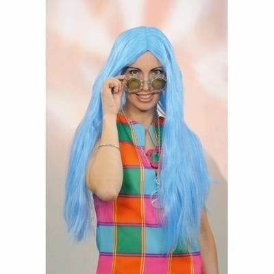Perruque Longue Hippie Bleue