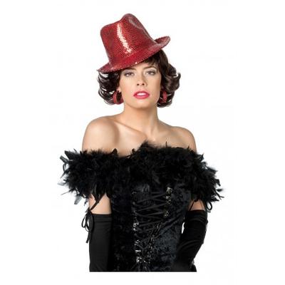chapeau borsalino à paillettes rouges