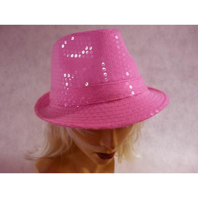 Chapeau borsalino à paillettes fluo rose