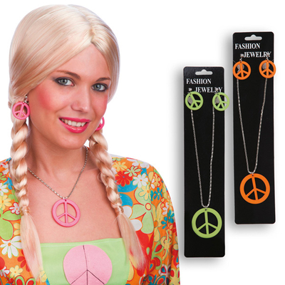 Boucles d'Oreilles Et Collier Peace And Love
