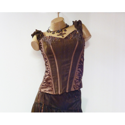 Bustier steampunk marron
