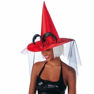 Chapeau de Sorcière Satin Rouge