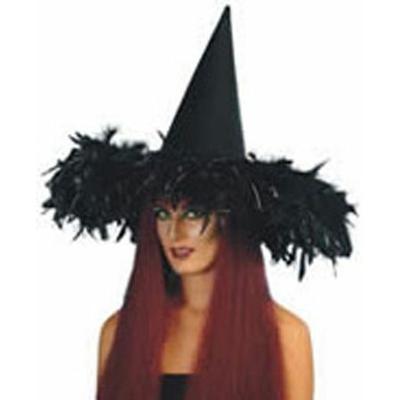 Chapeau Halloween En Velours Et Plumes noir