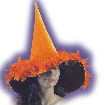 Chapeau Halloween Velours Et Plumes Oranges