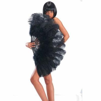 Eventail Géant Luxe plumes Noir