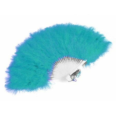 Eventail Plumes Bleu Turquoise