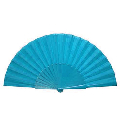 Eventail tissu bleu turquoise
