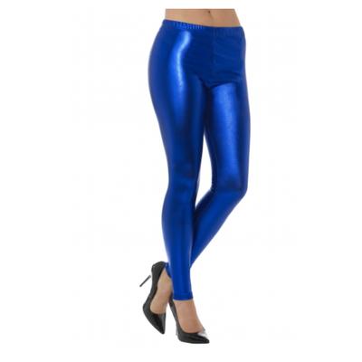 Legging métallisé bleu roy