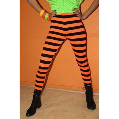 Leggings année 80  Rayé Noir Et Orange Fluo