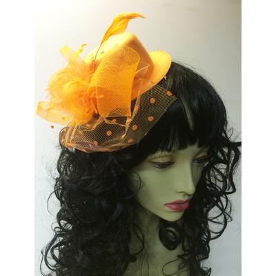 Mini chapeau avec voilette orange