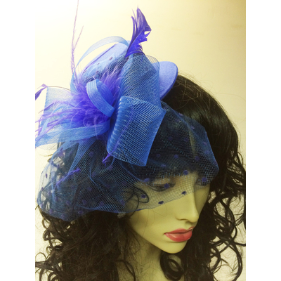 Mini chapeau avec voilette bleu roy