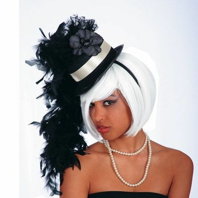 Mini Chapeau Cylindre Burlesque Noir Et Blanc