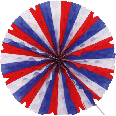 Eventail papier tricolore USA ou FRANCE 50 cm