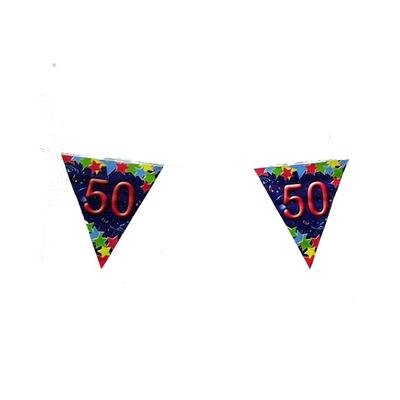Guirlande fanions 50 ans bleue