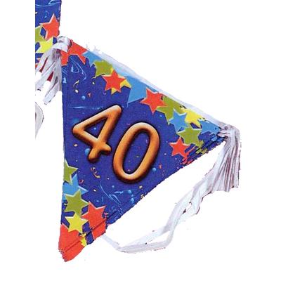Guirlande fanions 40 ans bleue