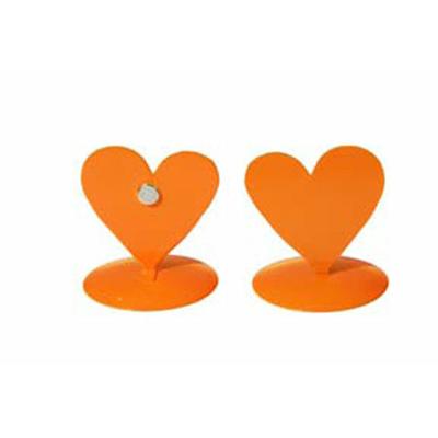 12 marques place coeurs métal orange