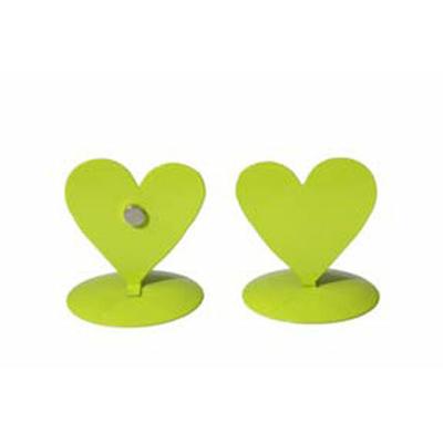 12 marques place coeurs métal vert anis