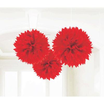 3 pompons fleurs papier rouges
