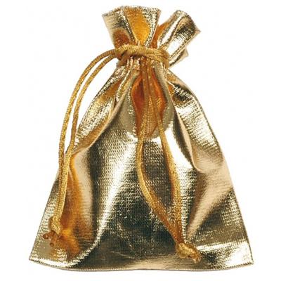 6 Sachets tissu métallisé or