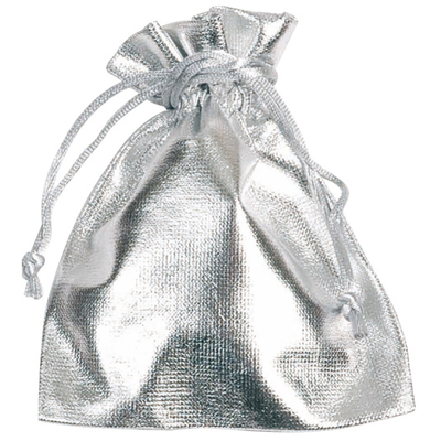 6 Sachets tissu métallisé argent