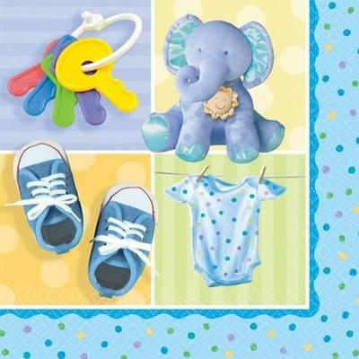 16 Serviettes Éléphant Bleu