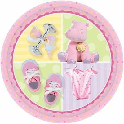 8 Assiettes Hippopotame Rose