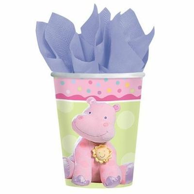 8 Verres Hippopotame Roses
