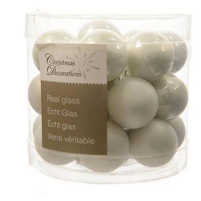 24 mini boules de noel blanches